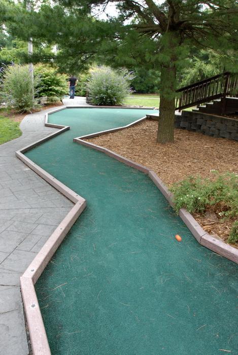 golf green, minigolf, shrubs, trees, golf ball