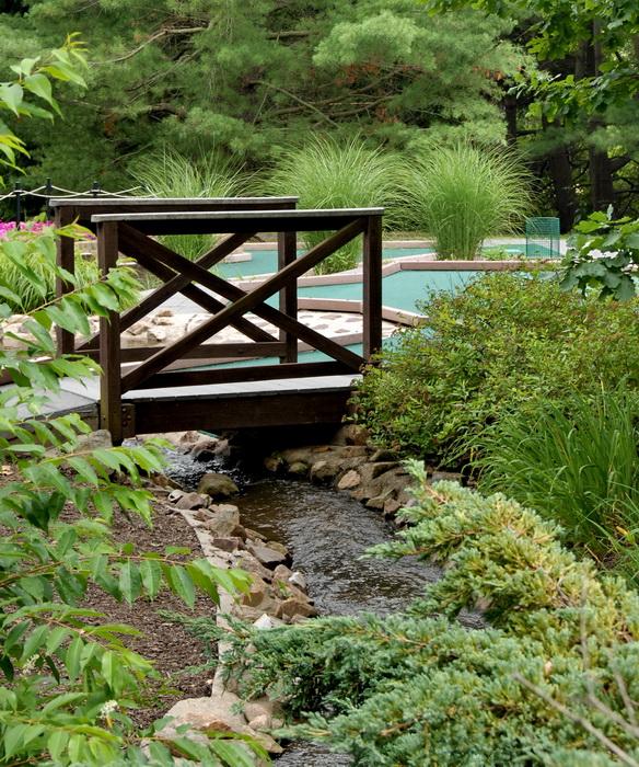 water, stream, rocks, bushes, leaves, bridge, minigolf, grass