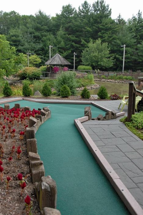 gazebo, minigolf, golf green, fence, flowers, path, bushes, grass