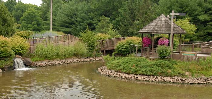 trees, bushes, grass, rocks, gazebo, water, pond, waterfall