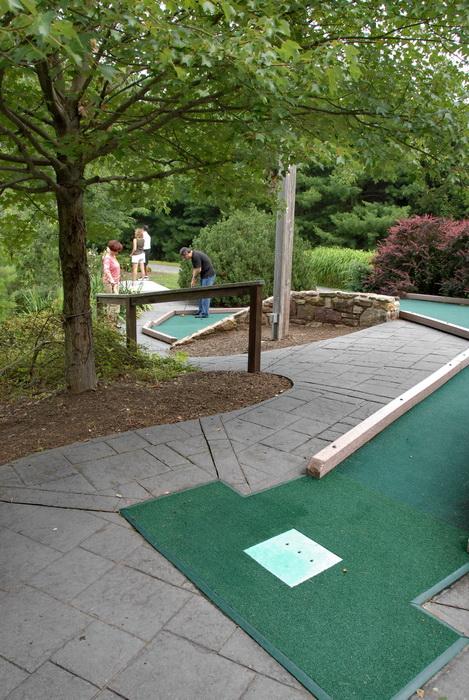 golf green, minigolf, path, trees, people
