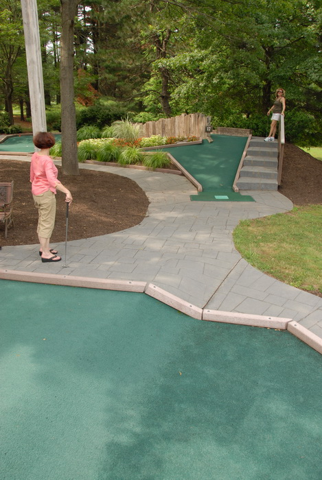 minigolf, people, trees, path, obstaclea, golf club, stairs