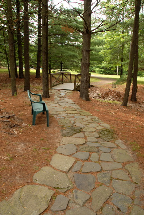 trees, rock path, stone path, benches, bridge