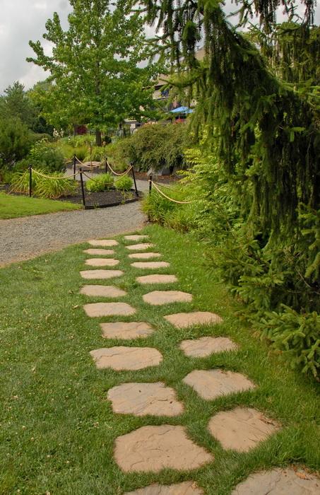trees, path, stone path, ropes, grass