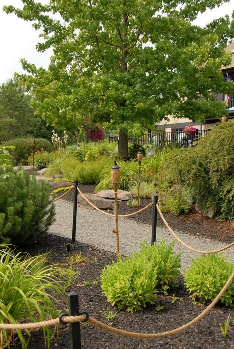 rope, fence, bushes, paths, trees, lantern
