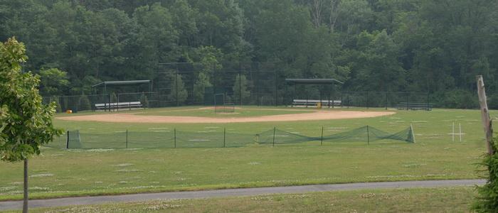 baseball field, grass, haze, trees, paved path