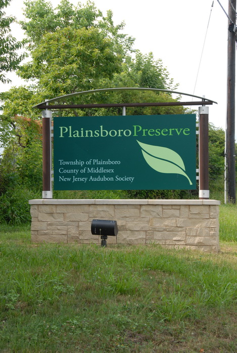 sign, lght, grass, trees, brick, Plainsboro Preserve entrance