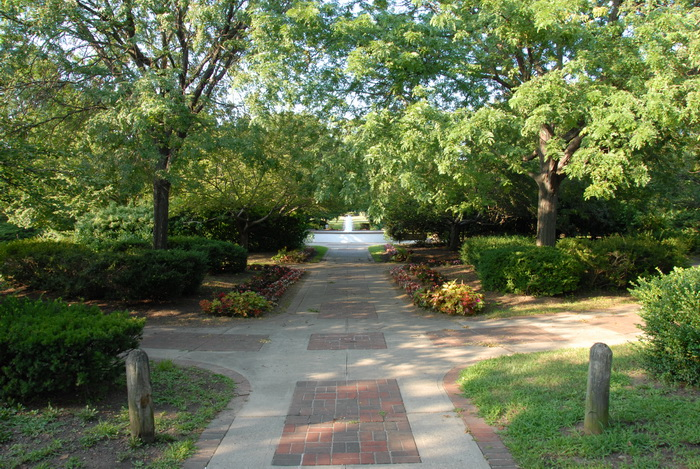 fountain, path, pavers, trees, walkway, grass, flowers