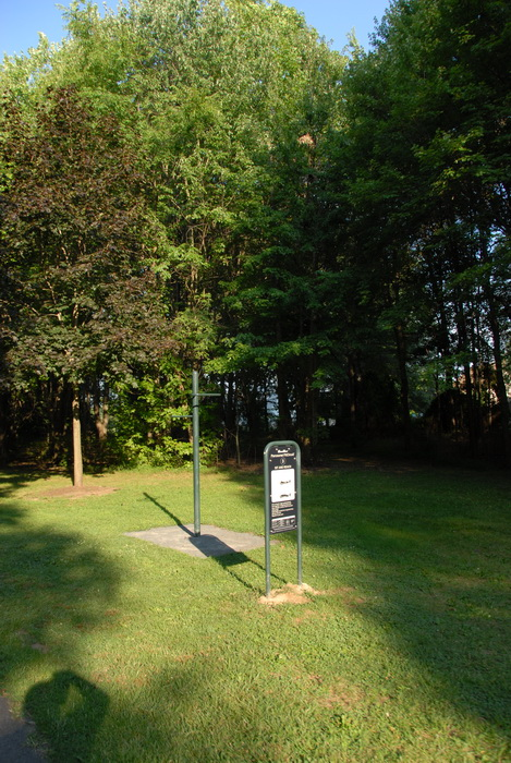 trees, grass, open area, fitness trail, sign