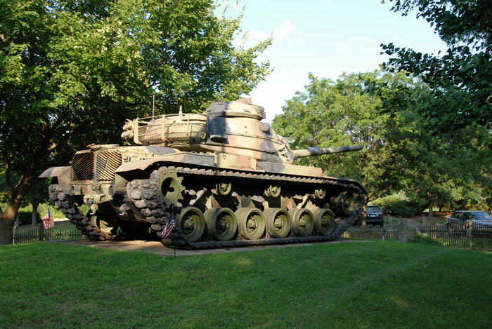 trees, grass, tank, fence