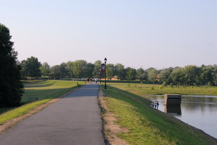 paved path, walked, light post, grass, hill, water, pond, fishing