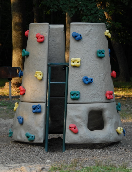 playground equipment, rock wall