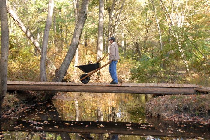 tools, woods, water, bridge, river