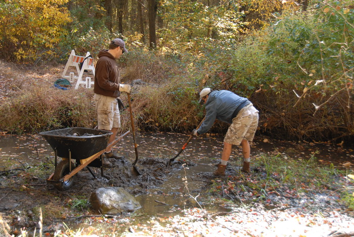 barrier, trail maintenance, water, river, tools, trees, ground cover