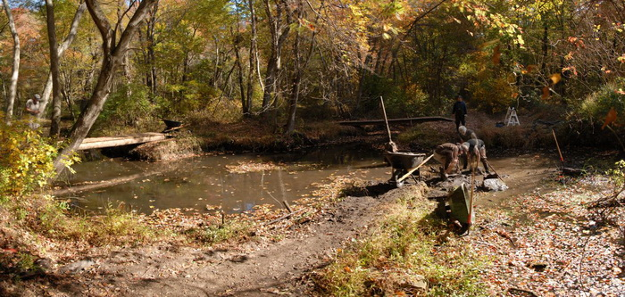 panoramic, woods, trees, trail maintenance, river, water, tools
