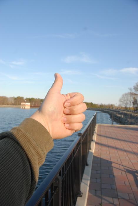railing, Thumbs across America, water