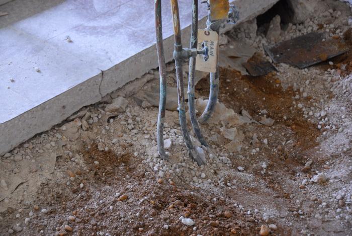 construction, cut cement floor, dirt