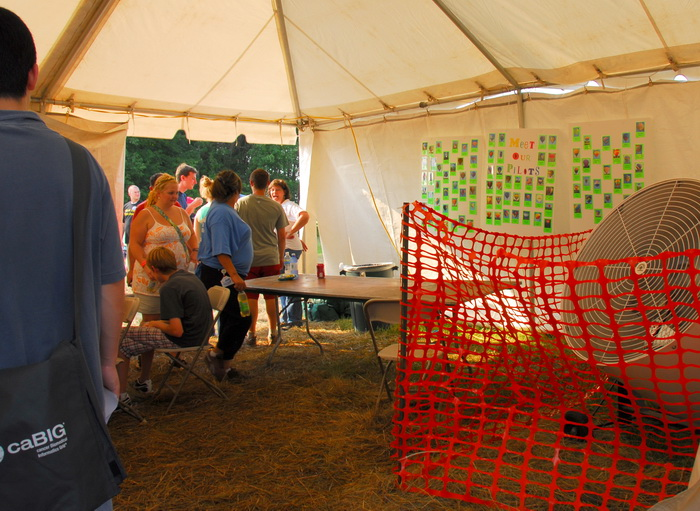 tent, canopy, fan, fence, people, inside