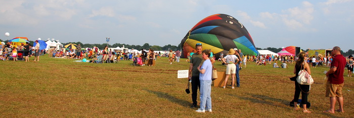 panoramic, people, staff, crows, hot air balloons, grass