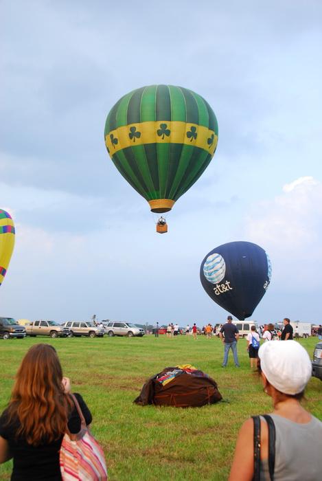 hot air balloon, grass, field, floating