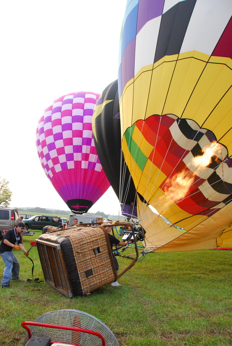 basket, flame, grass, hot air balloon, inflating, inside, rope, workers