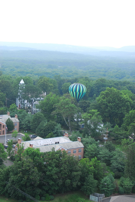 hot air balloon, mass launch, floating, flying, trees, fields, up in the air, building