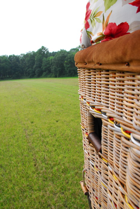 basket, grass, hot air balloon, landing