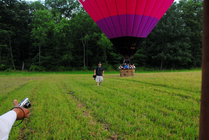 field, grass, hot air balloon, landing, people, tree, woods, Jeff Conklin