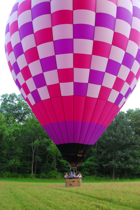 hot air balloon, landing, field, basket, people
