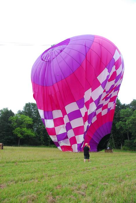 deflating, hot air balloon, field, trees