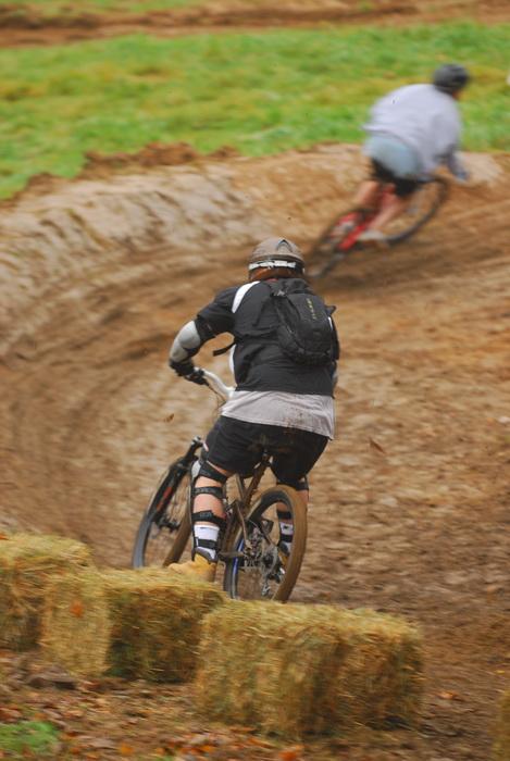downhill mountain bike track, mountain bike, mountain bikers, mud, racer, racing, movement, action