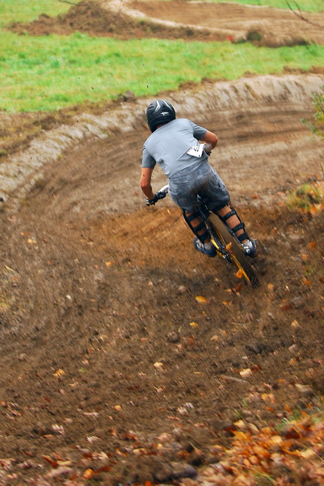 downhill mountain bike track, mountain bike, mountain bikers, mud, racing, burms, movement, action