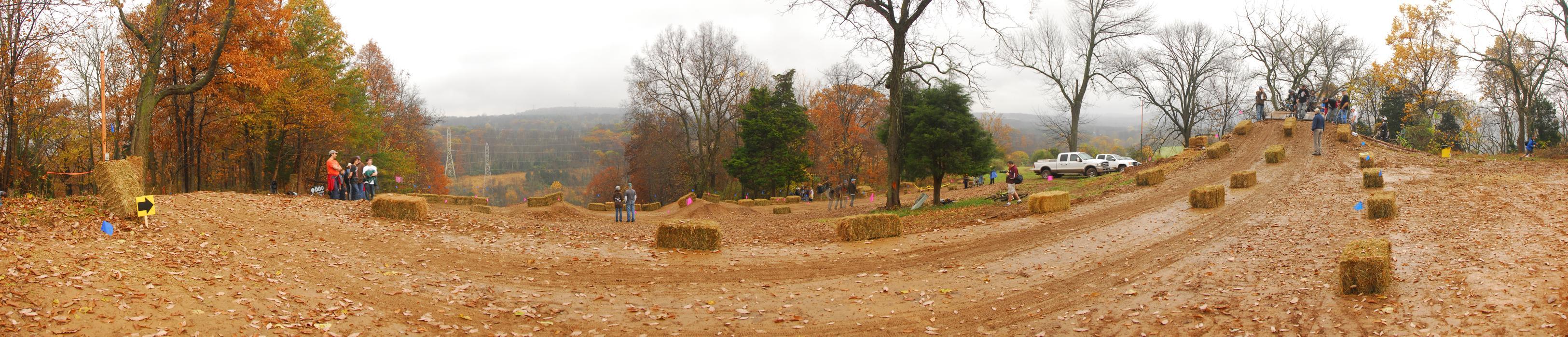 panoramic, starting gate, hay bales, race track, downhill mountain bike track, mud, dirt
