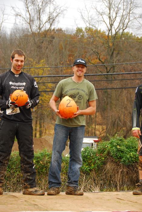 awards, mountain bike racers, podium, pumpkins, winners