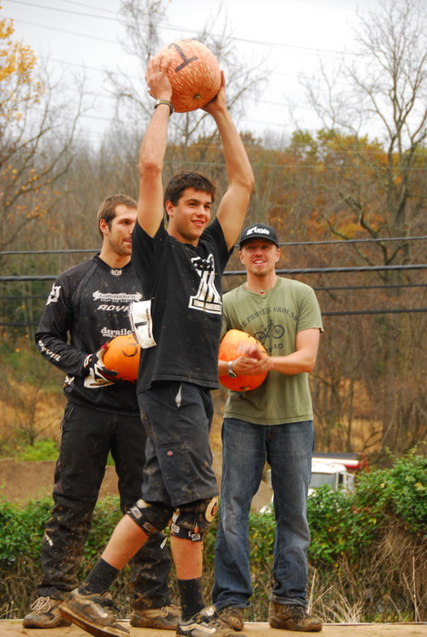 awards, mountain bike racers, podium, pumpkins, winners