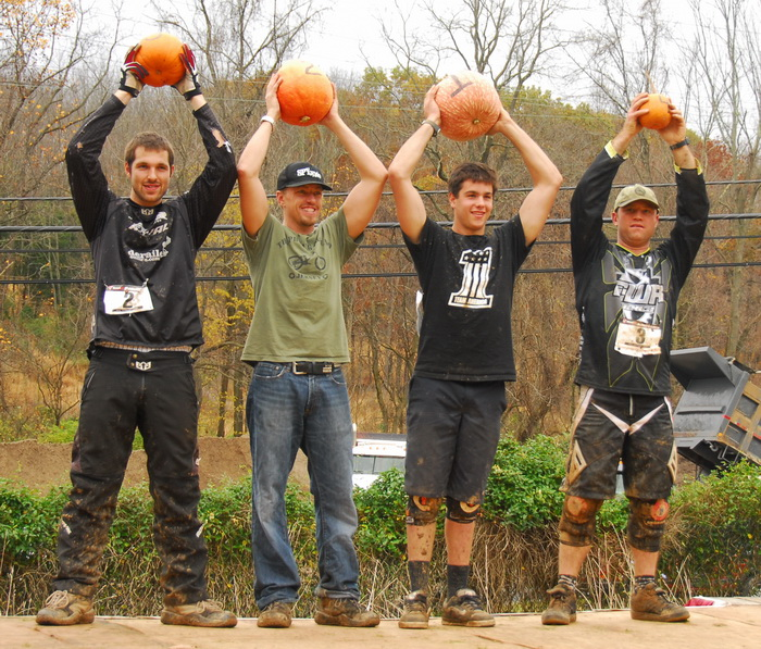 pumpkins, mountain bike racers, winners, awards, podium