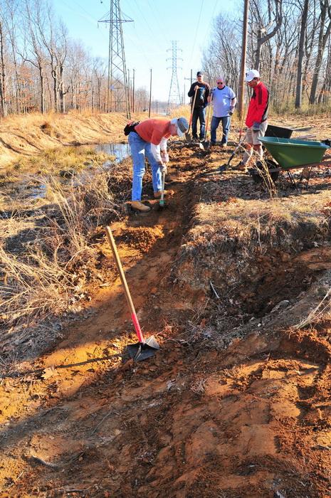 erosion, new trail, trail maintenance, works, grass, dirt, water, power lines, tools, progress