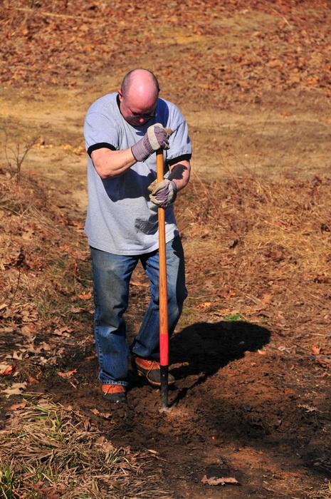 Mick, train maintenance, tools, tamper, dirt, trail