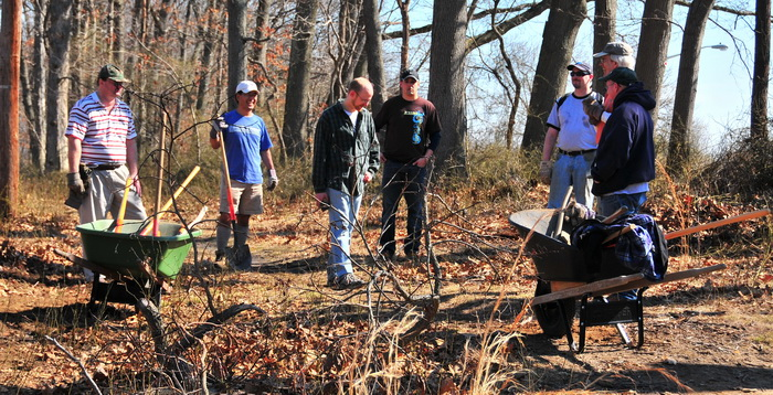 workers, trail maintenance, tools, sticks