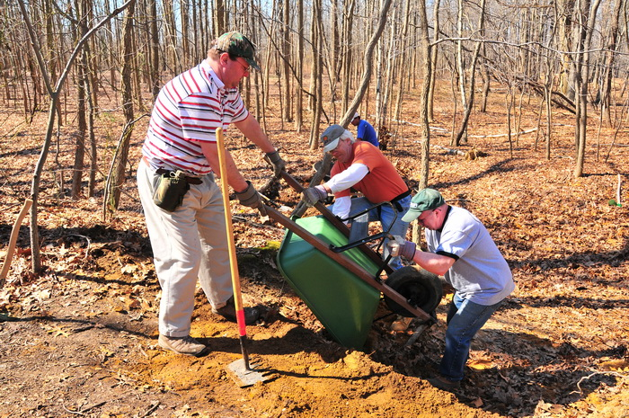 people, tools, trail maintenance, trail work, woods