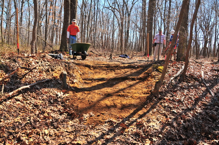 people, trail maintenance, new trail, water bar, tools, woods, trees