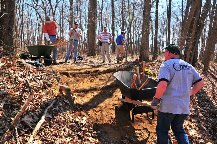 new trail, people, tools, trail maintenance, trees, water bar, woods