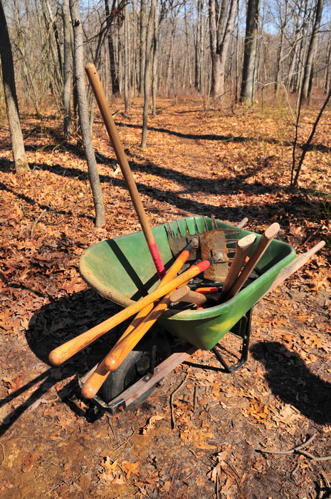 tools, woods, wheel barrow