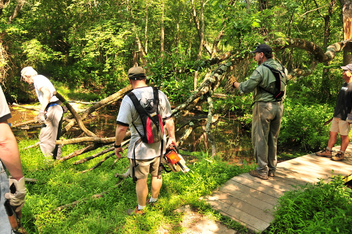 ground cover, grass, trail maintenance, JORBA, SMART, water, stream, bridge, tools