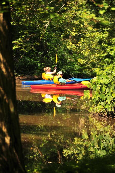kayak, kayaking, reflection, river, water