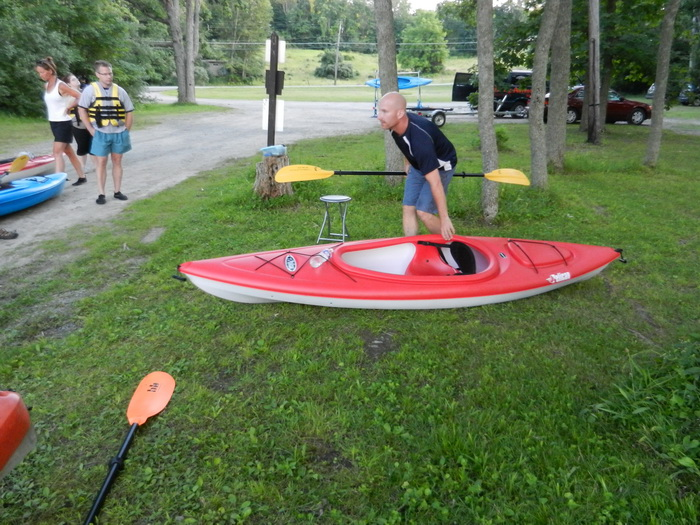 kayak, demonstration, paddle, grass, Vaughe, trees, parking lot, Swartswood SP