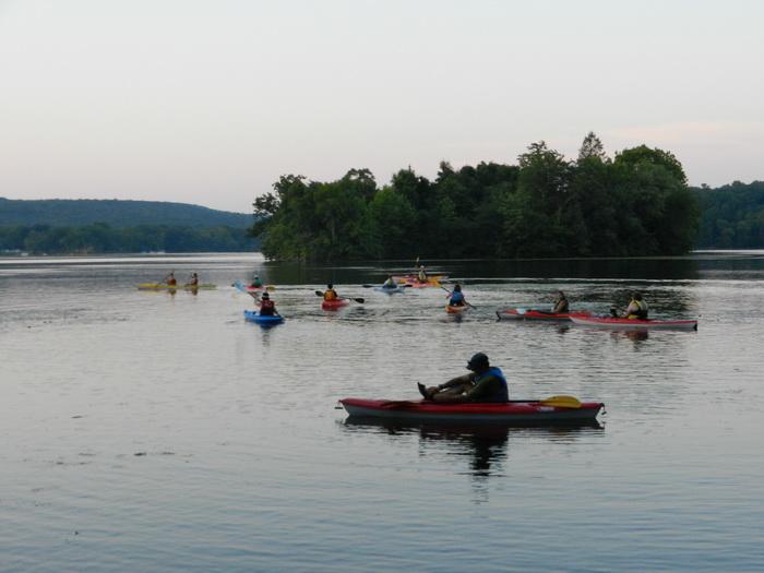 dusk, lake, water, Swartswood SP, kayaks, paddling, adventure