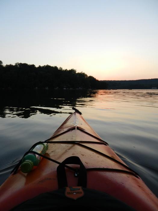 Swartswood SP, dust, kayak, lake, paddling, sunset, water, dagger Blackwater 11.5