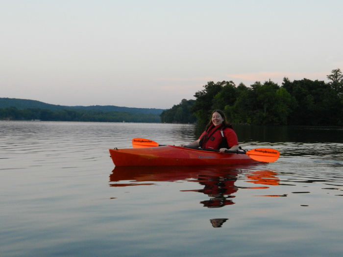 kayak, Swifty, Swartswood SP, paddle, Jackie, water, lake, dusk