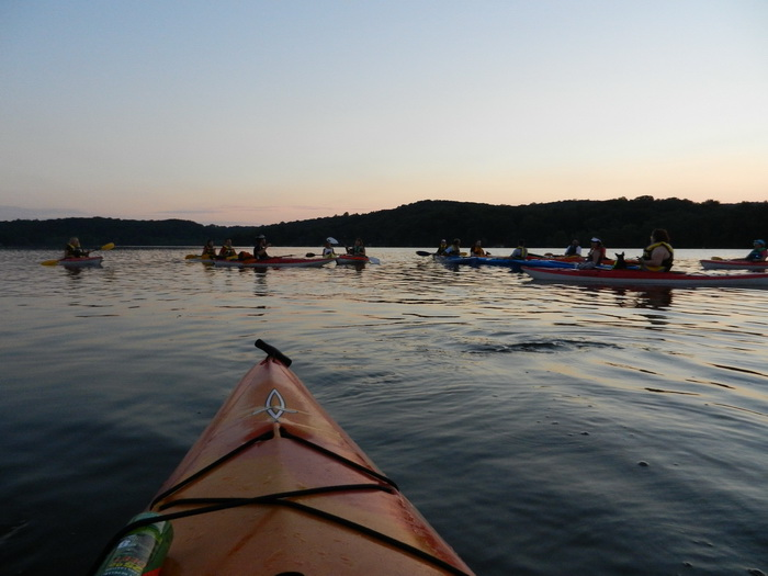 water, lake, paddling, kayaks, group, Swartswood SP, dusk, sunset